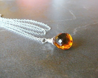 Medeira Citrine Briolette Necklace And Sterling Silver Chain