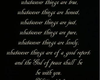 Inspirational  Phillippians 4-8-9  think pure lovely true honest motivational scripture black ivory text DIGITAL DOWNLOAD Gina Waltersdorff
