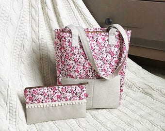 Pink floral tote and matching zipper pouch