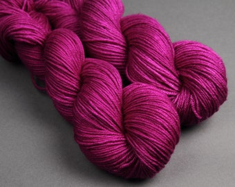 British Bluefaced Leicester wool and silk DK hand-dyed yarn 100g – 'Professor Plum'