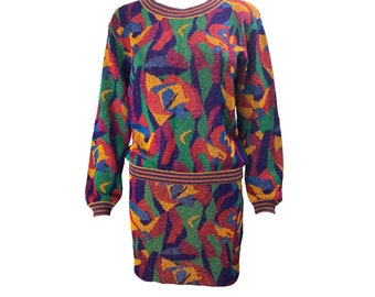 MISSONI Vintage 1980s Knit Top and Skirt Set Colourful Zigzag Woven Sweater Jumper Mini