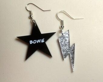 Black Star 'BOWIE' & silver FLASH laser cut Earrings