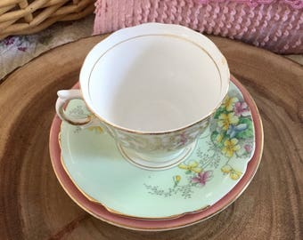 Vintage mismatched tea cup, saucer and plate