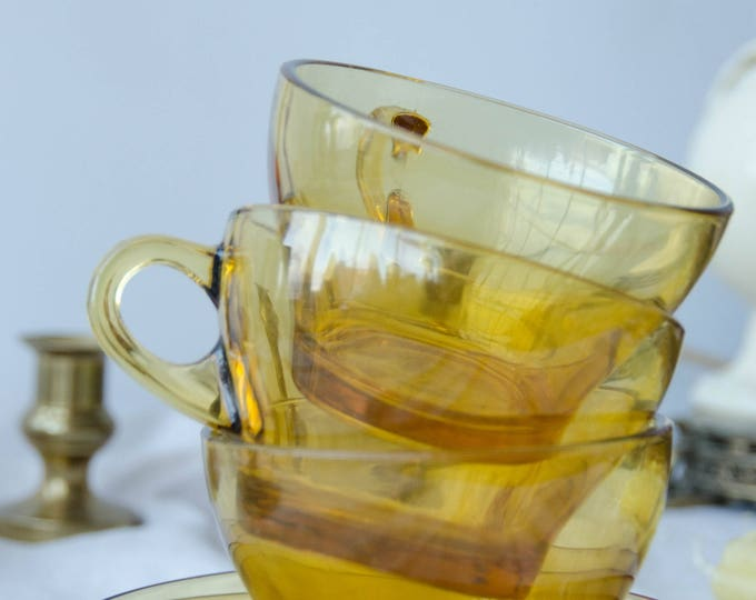 Vintage glass mugs with plates. Set of 3, amber glass