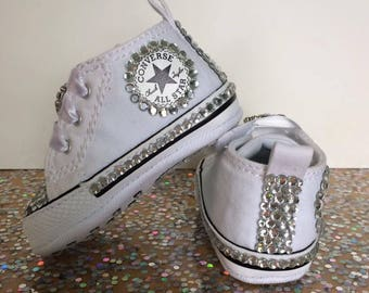 baby converse/ christening shoes/ converse crib shoes/ bling baby shoes/ wedding baby shoes/ fancy baby shoes/ bling baby converse