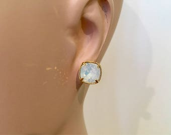Cushion Cut White Opal Swarovski Gold Post Earrings