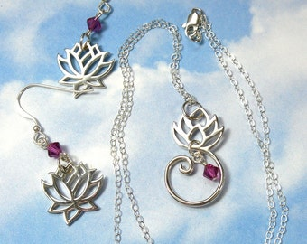 Lotus blossom earrings and necklace set - experience zen with sterling silver lotus flowers on sterling silver chain