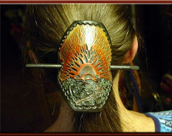 SUNSCAPE Design, Handcrafted, Hand Tooled Leather Hair Barrette