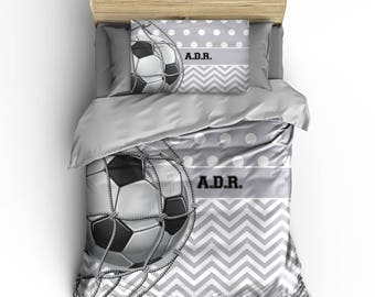 Custom Soccer Bedding, Chevron & Dots any color, Personalized with your Name -Toddler, Twin, F-Queen or King Size