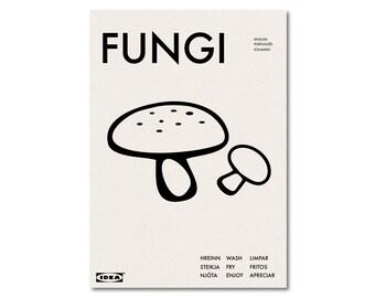 FUNGI - IKEA Parody Kitchen Diner Graphic Art Poster Typography