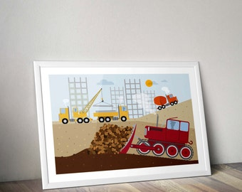 Car Poster Art Nursery Dump Truck Baby Boy