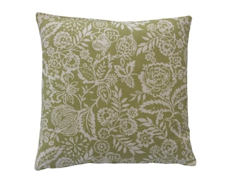 Pickle Polly  floral leaf design In sage green & cream cotton fabric retro made in Britain cushion cover pillow case