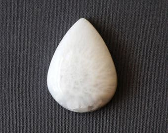 Scolecite Stone Cabochon - White Teardrop Cabochon