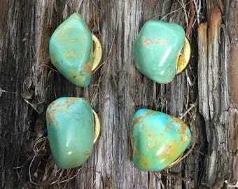Set of 4 Solid Turquoise Stone button covers