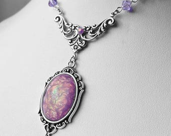 Mermaid Lilac Opal Lenore Necklace