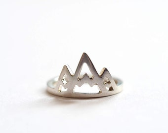 Mountain Ring, Silver Mountains Stacking Ring, Sterling Silver Ring, Handmade in Brighton, uk