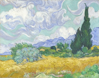 Wheat Field with Cypresses by Vincent Van Gogh Home Decor Wall Decor Giclee Art Print Poster A4 A3 A2 Large Print FLAT RATE SHIPPING