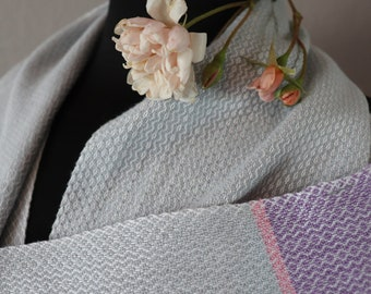 Light Silver Gray Pink Purple Handwoven Scarf | Cotton Scarf | Gift for Her | Gift for Mom