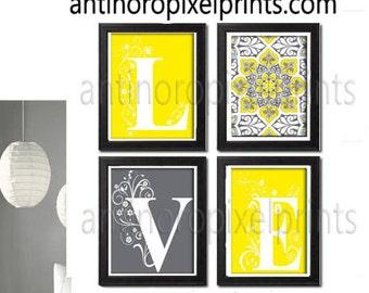 Love Yellow Greys White Wall Art Modern Inspired -Set of 4 - 8x10 Prints -  (UNFRAMED) #106093577