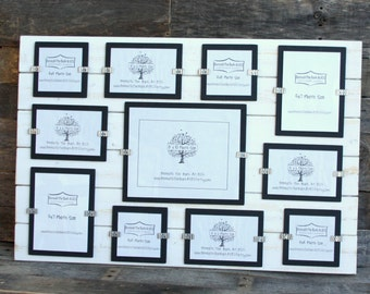 Collage Picture Frame - Distressed Wood - Holds 11 Photos - Various Sizes - White and Black