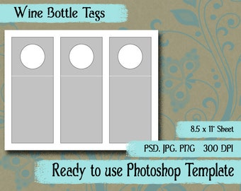 "Scrapbook Digital Collage Photoshop Template, 3"" x 7 1/2""  Wine Bottle Hang Tag"