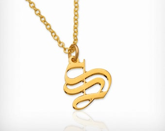 Initial Gothic necklace Old English font necklace gold custom necklace personalized necklace Gothic necklaces for women