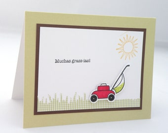 Hand Stamped Punny Thank You Card with Lawnmower