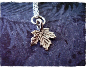 Tiny Maple Leaf Necklace - Sterling Silver Maple Leaf Charm on a Delicate Sterling Silver Cable Chain or Charm Only