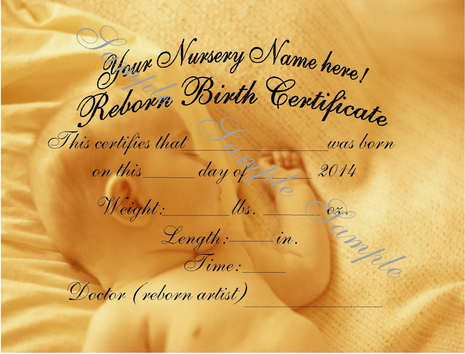 Reborn birth certificates your custom nursery name 5 request a custom order and have something made just for you aiddatafo Image collections