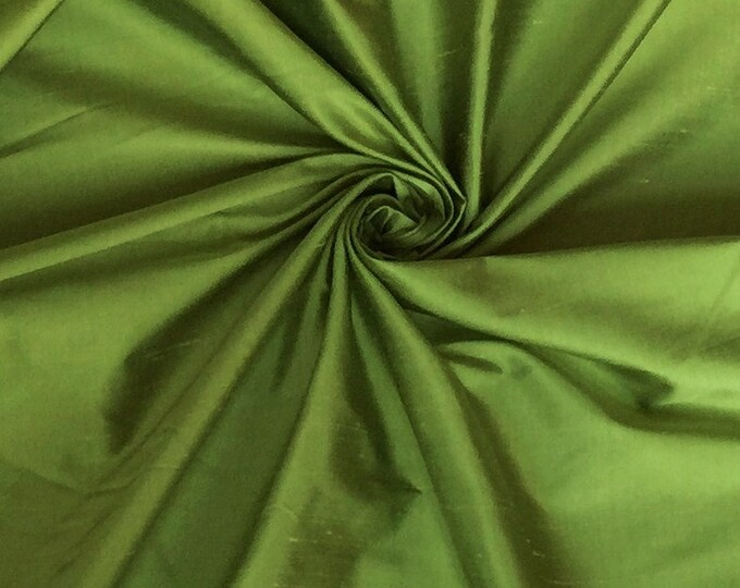 "Lime Green 100% Shantung silk yardage By the yard 55"" wide"