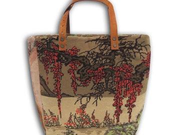 Tapestry Purse, Seventies Canvas Handbag Wild Nature Zen Asia : Le Yoko