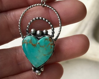 Turquoise Heart Pendant, Sterling Silver Pendant, Turquoise Necklace, Heart Jewelry, Heart Pendant, Gifts for Her, Ready to Ship, Silver