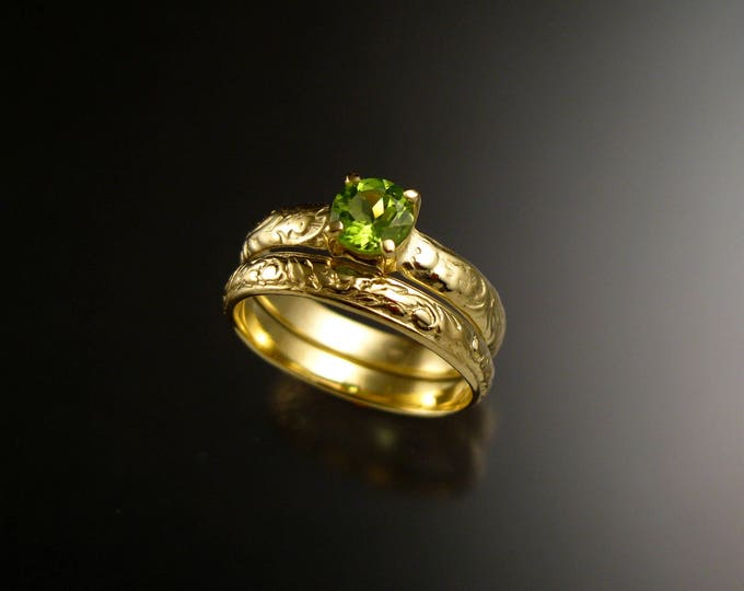 Peridot Wedding ring 14k Green Gold Victorian Floral pattern Engagement ring and matching band set made to order in your size