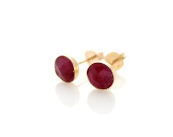 Ruby stud earrings | Ruby set in gold stud earrings | Red earrings | Gift for her | July birthstone