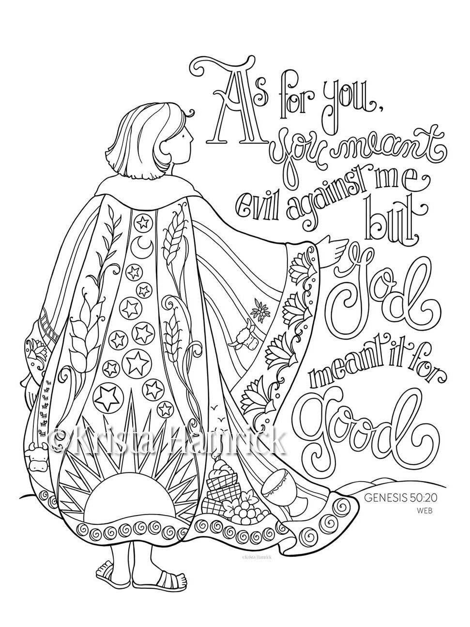 Joseph 39 s coat of many colors coloring page 8 5x11 bible for Bible coloring pages joseph