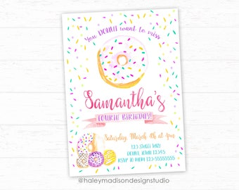 Donut Invitation, Sprinkles Birthday Invitation, Donut Birthday party invitation, Girl Donut Invitation PRINTABLE FILE