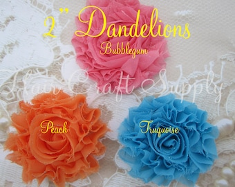 3 --- 2 inch Dandelion Shabby Flowers for clips baby headbands frayed shabby no charge for add on item in this listing