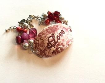 LOVE bracelet cuff, ceramic bracelet, bar bracelet, ceramic bracelet bar, boho bracelet, hand wired bracelet, charm bracelet, valentine gift