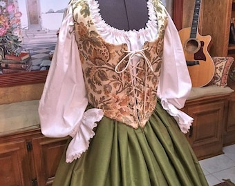 Renaissance Wench or Maiden Reversible Bodice and Skirt, Green Floral Dress, Cusom sized for You!