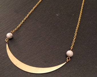 Marble & crescent moon brass curve necklace