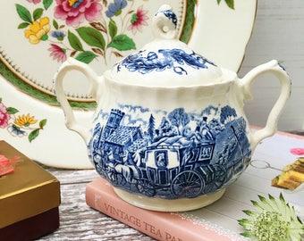 Blue and White Sugar Bowl - Myott Staffordshire Ware - Royal Mail