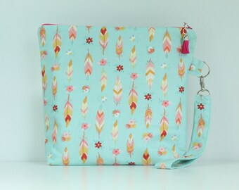 Feathers Zip Bag/ Pouch with Wrist Strap