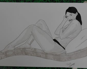 """drawing of nude female erotic """"vacation"""""""
