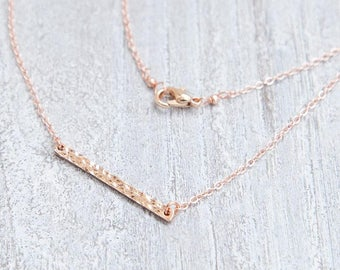 Geometric Layering Necklace, Rose Gold Necklace, Hammered Bar Necklace, Rose Gold Layering Necklace, Geometric Necklace, Rose Gold Jewelry