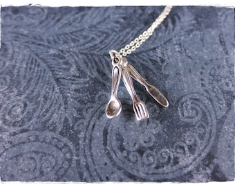 Silver Spoon, Fork, Knife Necklace - Sterling Silver Spoon, Fork, Knife Charm on a Delicate Sterling Silver Cable Chain or Charm Only