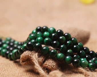 Natural Green Tiger Eye Beads, Smooth Round 6mm-12mm, 15.4 Inch Strand (GE42)