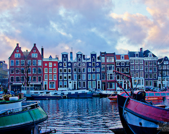Amsterdam Travel Photography, Canal Houses, Fine Art Print, Holland Decor, Architecture, Europe, Travel Wall Art, Boats, Blue, Home Decor