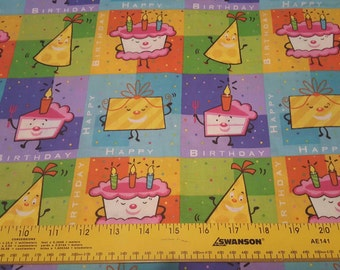 Birthday quilt weight cotton woven fabric 1yd cut