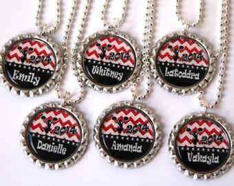 red chevron cheerleading necklace, cheerleader gift, cheerleading gift, cheerleader jewelry, personalized necklace,  bottle cap necklace