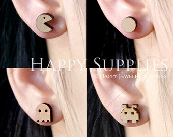 4pcs Mini (SMN67-70) DIY Laser Cut Wooden Earring Charms - SWC Series